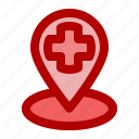care, center, find, hospital, location, medical icon