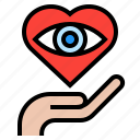 care, eye, hand, healthcare, heart, medical icon