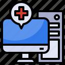 computer, cpu, hospital, medical, monitor icon