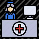 burocratic, desk, hospital, reception