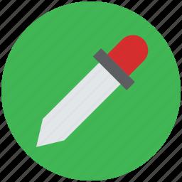 dropper, eyedropper, laboratory, picker, pipette, pipette drop, sample, test icon