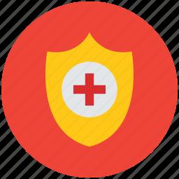 healthcare, medical care, medical shield, medical sign, medicine, protection, shield icon