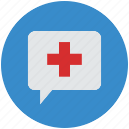 healthcare, medical, medical assistance, service, speech bubble icon