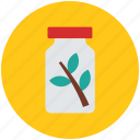 herbal bottle, herbal jar, jar, leaves, medicine, medicine jar icon