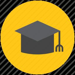 graduates hat, graduation cap, graduation hat, graduation mortarboard, square icon