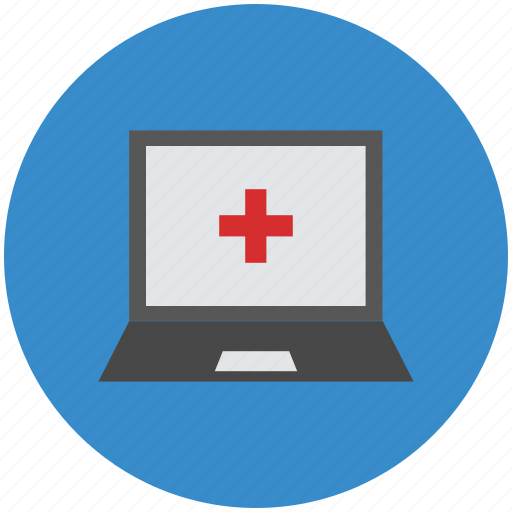 laptop, laptop screen, medical, notebook, pc icon