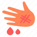 blood, drop, hand, injury icon