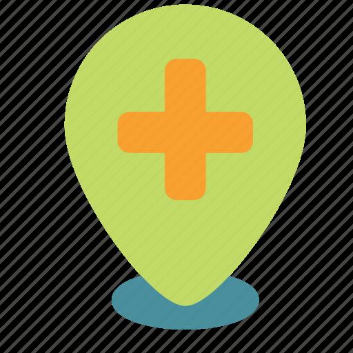 cross, hospital, mark, medical, pin icon