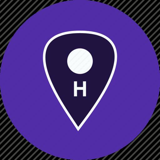 gps, hospital, landingpad, location, medicalmap, pin, pointer icon