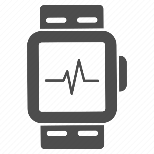 cardiogram, cardiology, clock, ecg, heart pulse, heartbeat, smartwatch icon