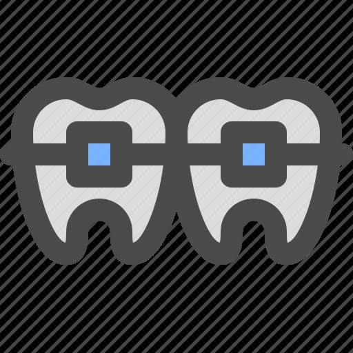 bracket, dentist, medical, tooyh icon