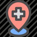 health, hospital, location, pin