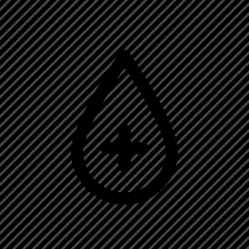 blood, drop, health, heart, negative, plus, positive icon