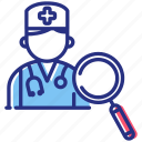 doctor search, find doctor, magnifier icon