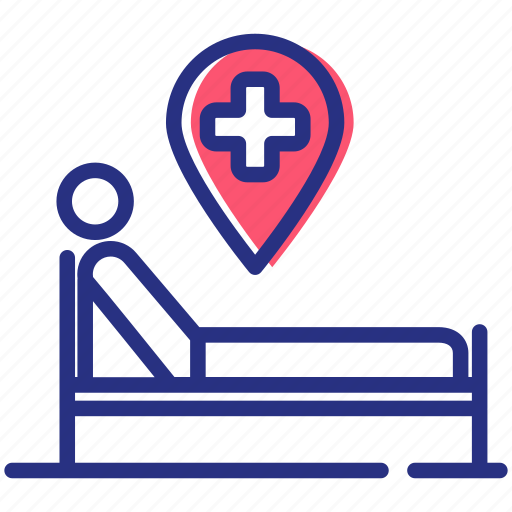 hospital bed, medical supervision, patient, treatment icon