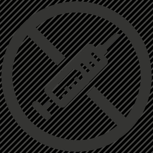 drug, drugs, injection, no, syringe icon