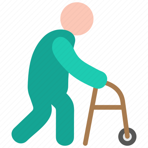geriatrics, gerontology, old man icon