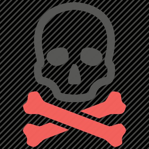 crossbones, death, skeleton, skull icon