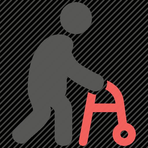 elder, geriatrics, gerontology, walking frame icon