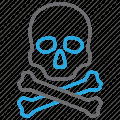 bones, crossbones, danger, death, skull icon