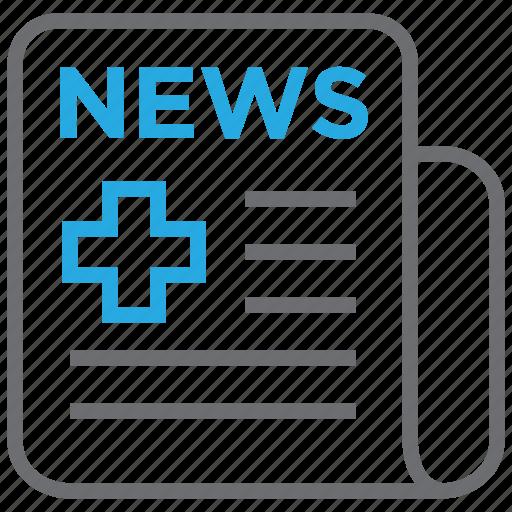 healthcare, media, medical, news, newspaper icon