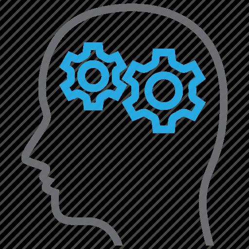 brain, gear, logic, psychiatry icon