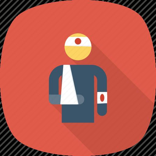 emergency, head, injured, injury, insurance, leg icon