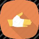 medical, injury, treatment, hand, bandage icon