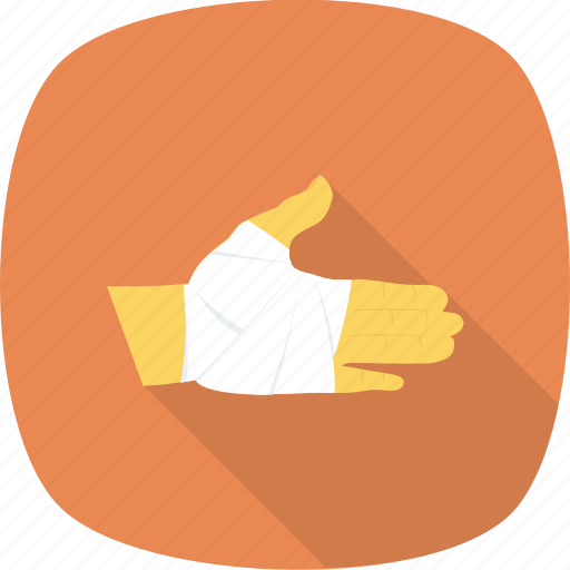 bandage, hand, injury, medical, treatment icon