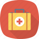 cross, first, kit, medical, suitcase icon