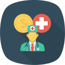cash, coin, cross, doctor, medical, medicine, nurse icon
