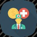 cash, coin, cross, doctor, medical, medicine, nurse icon