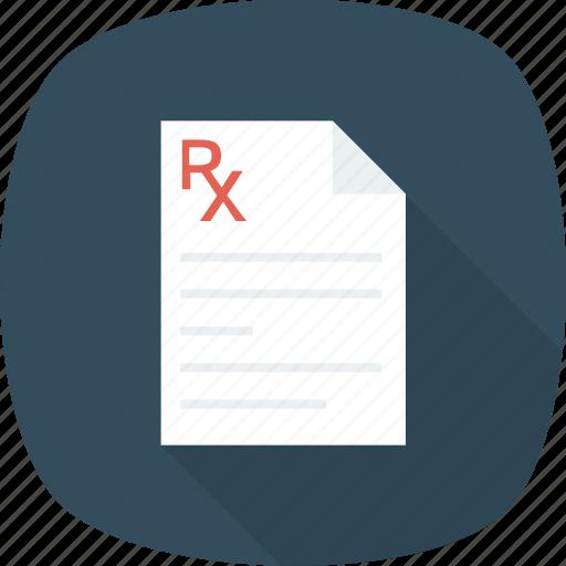 medical, medication, pharmaceutical, pharmacy, prescription, receipt, rx icon