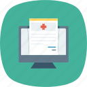 clinical, doctor, healthcare, medical, online, record, report icon