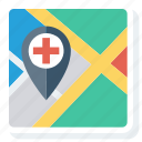 direction, hospital, location, map, pin icon