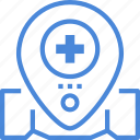 care, hospital, location, medical icon