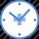 care, clock, heart, hospital, medical, medicine, time icon