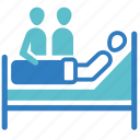 care, hospital, medical treatment, patient, sick, sickbed, visitors icon