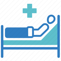 hospital, hospital bed, medical, medical treatment, patient, sick, sickbed icon
