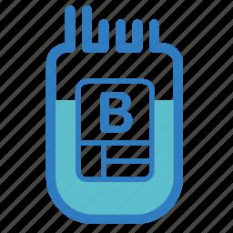 b, blood donation, blood type, emergency, hospital, medical, transfusion icon