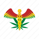caduceus, cartoon, drug, leaf, marijuana, medical, plant