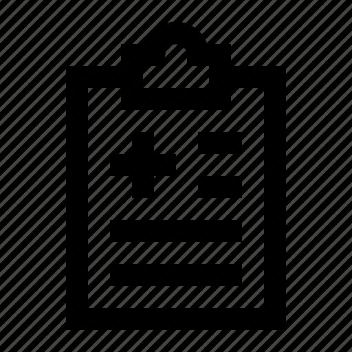 clinical, clipboard, diagnosis, medical, medicine, record, report icon