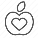 apple, fruit, healthcare, heart icon