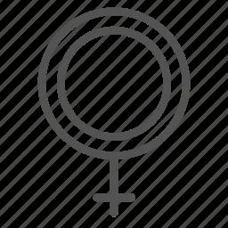 circle, cross, female, mark, woman icon