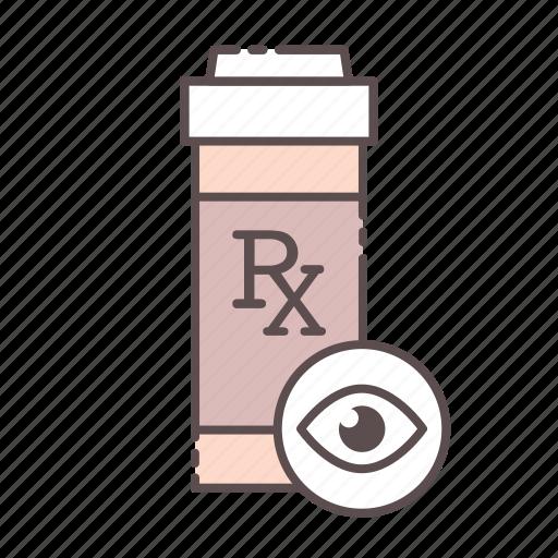 bottle, eyes, medical, rx, wellness icon
