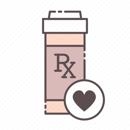 bottle, heart, medical, rx, wellness icon