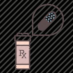 bottle, inside, medical, rx, wellness icon