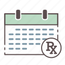 calendar, medical, monthly, rx, schedule, wellness icon