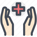 hand, health care, hospital, medical, protection icon