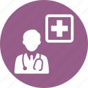 doctor, medical help, stethoscope icon
